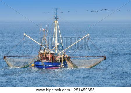 Traditional Shrimp Boat At German North Sea,wadden Sea National Park,germany