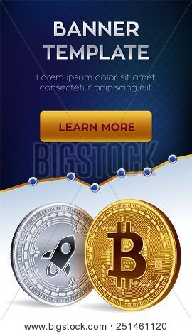 Crypto Currency Editable Banner Template. Bitcoin. Stellar. 3d Isometric Physical Bit Coins. Golden