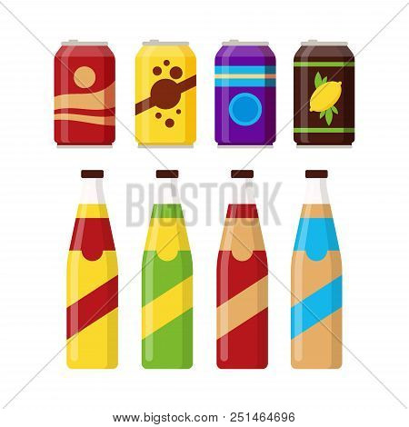 Set Of Colorful Soft Drinks In Glass Bottle And Aluminum Tins Isolated On White Background. Differen