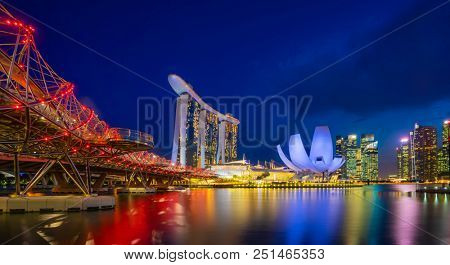 Singapore, Singapore - APRIL 17, 2018: View at Singapore City Skyline, which is the iconic landmarks of Singapore