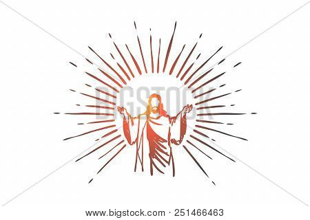 God, Jesus Christ, Grace, Good, Ascension Concept. Hand Drawn Silhouette Of Jesus Christ, The Son Of