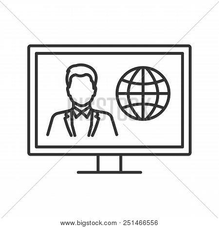 Tv News Linear Icon. Thin Line Illustration. Newscaster On Television Set Display. Contour Symbol. V