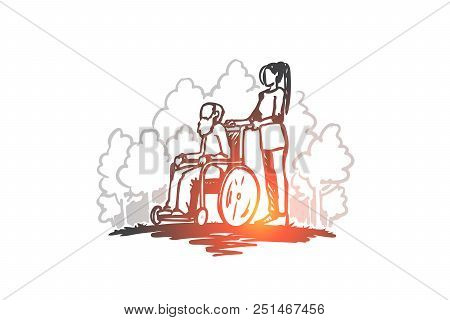 Retirement Home, Old Man, Elderly, Pensioner, Health Concept. Hand Drawn Old Man On Wheelchair With