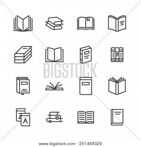 Books Flat Line Icons. Reading, Library, Literature Education Illustrations. Thin Signs For E-book S