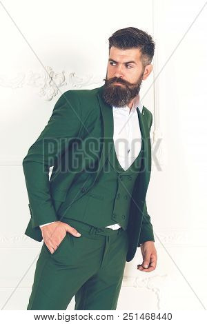 Men With Beard Clothing, Boutiques. Tailor, Tailoring. Stylish Men's Suit. Handsome Brutal Man Suit,