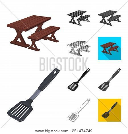 Barbecue And Equipment Cartoon, Black, Flat, Monochrome, Outline Icons In Set Collection For Design.