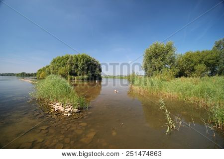 Water And Island For Bird Around The Zevenhuizerplas, Close To Rotterdam In Zevenhuizen,