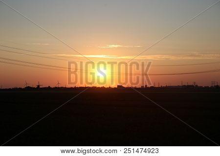 Sunset Over The Eendragtspolder In Zevenhuizen, The Netherlands