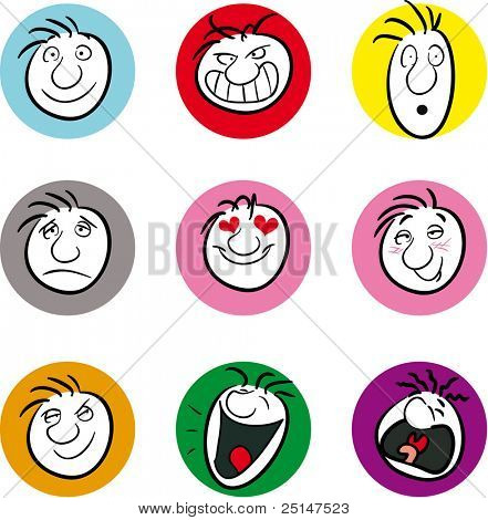 Nine illustrations showing different emotions or moods (also available in vector format)