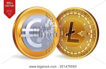 Litecoin. Euro Coin. 3d Isometric Physical Coins. Digital Currency. Cryptocurrency. Golden Coins Wit