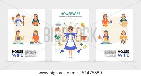 Flat housewife posters with super mom and women doing different household activities and affairs isolated vector illustration poster