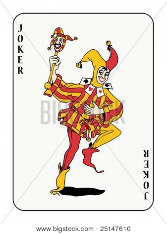 joker playing card with red and golden costume  (also available in raster format)