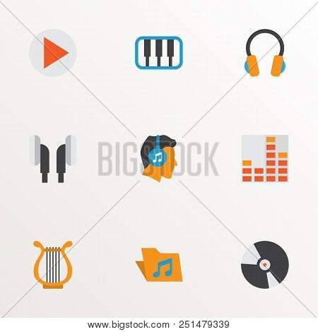 Music Icons Flat Style Set With Begin, Archive, Compact Disk And Other Sonata Elements. Isolated Vec
