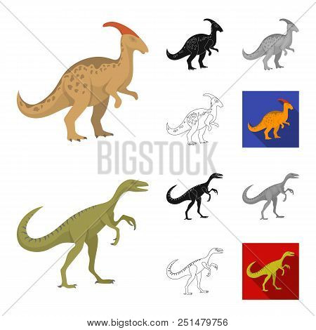 Different Dinosaurs Cartoon, Black, Flat, Monochrome, Outline Icons In Set Collection For Design. Pr