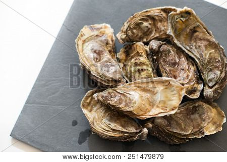 Fresh oysters. Raw fresh oysters, image isolated, with soft focus. Restaurant delicacy. Saltwater oysters. poster