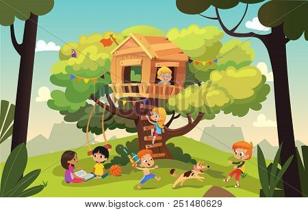 Happy Multiracial Boys And Girls Playing And Having Fun In The Treehouse, Kids Playing With Dog, And