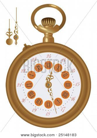 Old pocket watch detailed illustration. Hands in a separate level, so you can easily edit any hour.