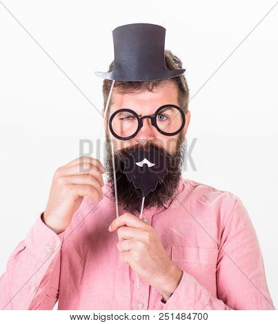 Dressing Well Makes You Seem More Intelligent. Man Bearded Hipster Cardboard Top Hat And Eyeglasses