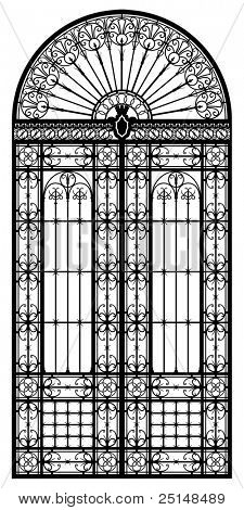 Retro-styled wrought iron portal black silhouette