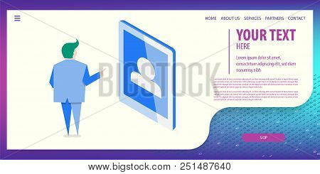 User Man Use Id Login On Tablet. Account Design. Data Connection Isometric Technology. Digital Vecto
