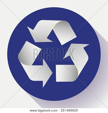 White Arrows Recycle Eco Symbol Vector Illustration Isolated On White Background. Recycled Sign. Cyc