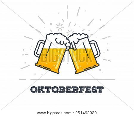 October Fest Concept. Two Gig Glasses With Fresh Yellow Live Beer And White Foam, And Bubbles. Line