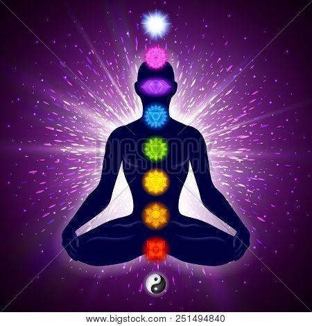 Meditating Human In Lotus Pose. Yoga Illustration. Colorful 9 Chakras And Aura Glow. Shine Backgroun