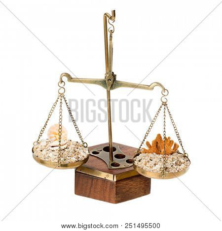 Scales of justice with sand and sea shells over white background for judiciary holiday concept.