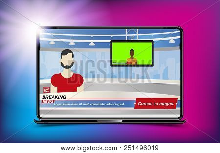 Anchorman In Breaking News. Banner Breaking News Template In Realistic Laptop On Colour Background.