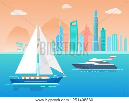 Sailboat And Ship At City And Skyscrapers Collection, Sailer And Yacht, Sky With Clouds, Tree And Bu