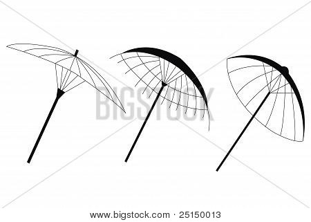 Illustration Of Three Umbrellas