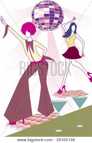 Illustration Of Disco Dancers