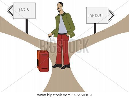 Illustration Of A Tourist Oscilating Between London And Paris