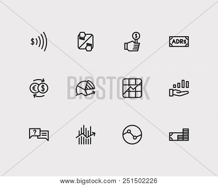 Trading Icons Set. Stock Sector And Trading Icons With Stock Symbol, Exchange And Chart. Set Of Sale