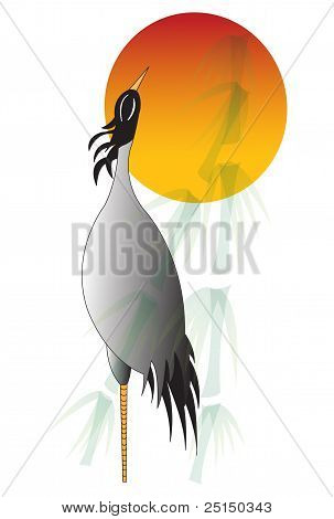 Illustration Of A Crane At Sunset
