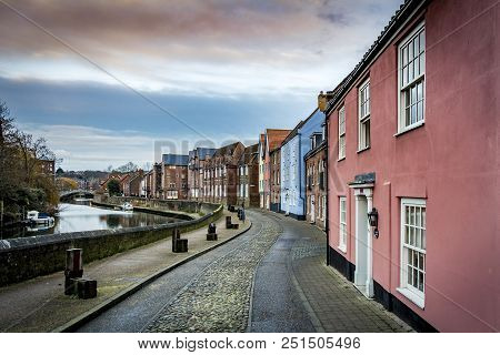 View Of Norwich In Norfolk Along The River Wensum