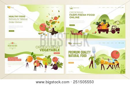 Set Of Web Page Design Templates For Farm Fresh Food, Online Food Ordering, Organic Vegetable, E-com