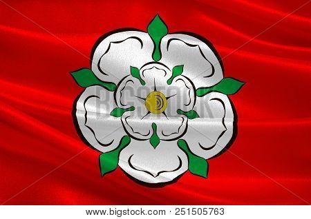 Flag Of Rosenheim In Upper Bavaria Of Germany. 3d Illustration