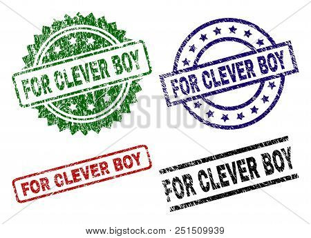 For Clever Boy Seal Prints With Corroded Texture. Black, Green, Red, Blue Vector Rubber Prints Of Fo