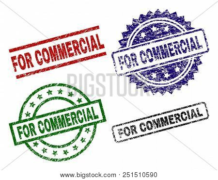 For Commercial Seal Prints With Corroded Surface. Black, Green, Red, Blue Vector Rubber Prints Of Fo