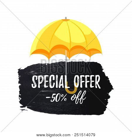 Special Offer -50 Off Sale Banner With Cartoon Umbrella Isolated On White Background. Hand Drawn Bru