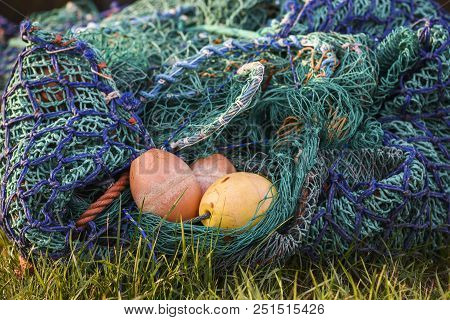 Colorful fishing nets with elements.  Colorful fishing nets with elements. poster