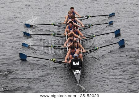 BOSTON - OCTOBER 23: Milwaukee Rowing Club youth men's Eights races in the Head of Charles Regatta.