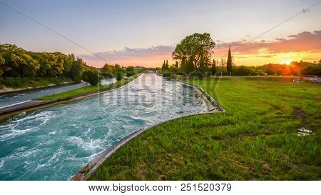 River Mincio, Veneto, Italy At Sunset Flowing Towards Mantova.