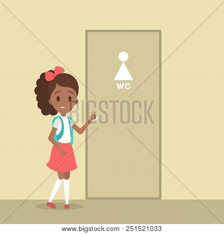 Stressed Girl Wants To Pee. Female Character With A Full Bladder Standing At The Closed Wc Door. Fla