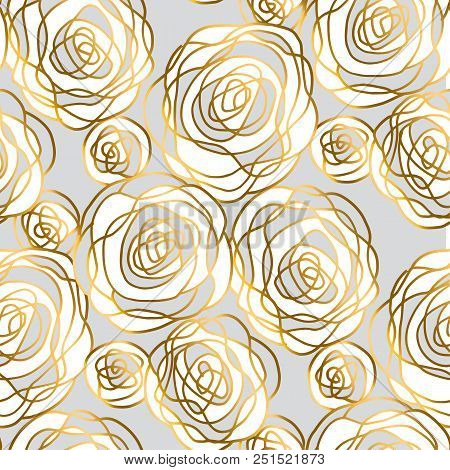 Gold And Gray Hand Drawn Rose Motif. Decorative Floral Seamless Pattern For Background, Wrapping Pap