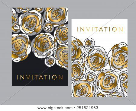 Gold And Gray Hand Drawn Rose Motif For Header, Card, Invitation, Poster, Cover And Other Web And Pr