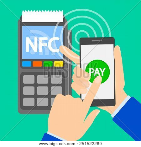 Nfc Concept. Near Field Communication. Buy Goods And Pay Using Mobile Phone. Modern Wireless Technol