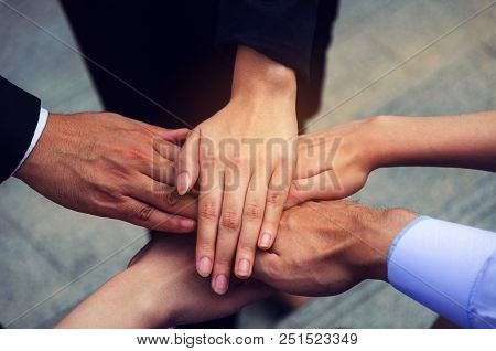 Hand Of Group Of Business People Team Joining Hands Together In The Modern City, Team Leader, Succes