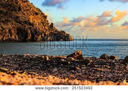 Travel Photo In St. Barths, Caribbean. View Of A Big Stone In The Left Side On Shell Beach, Caribbea